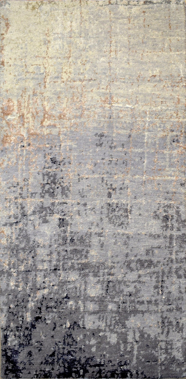 Modern Indo Tibetan Wool and Bamboo Silk 2' by 4' Area Rug |The Rug Decor |TRD184224 - The Rug Decor