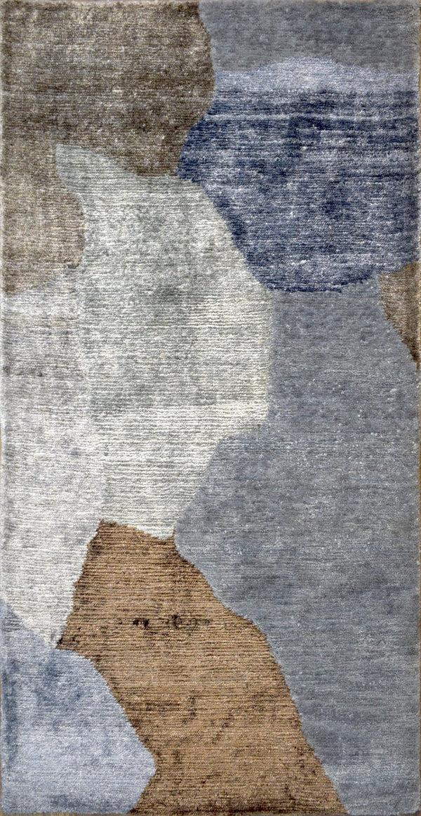 Modern Indo Tibetan Wool and Bamboo Silk 2' by 4' Area Rug|The Rug Decor |TRD152124 - The Rug Decor