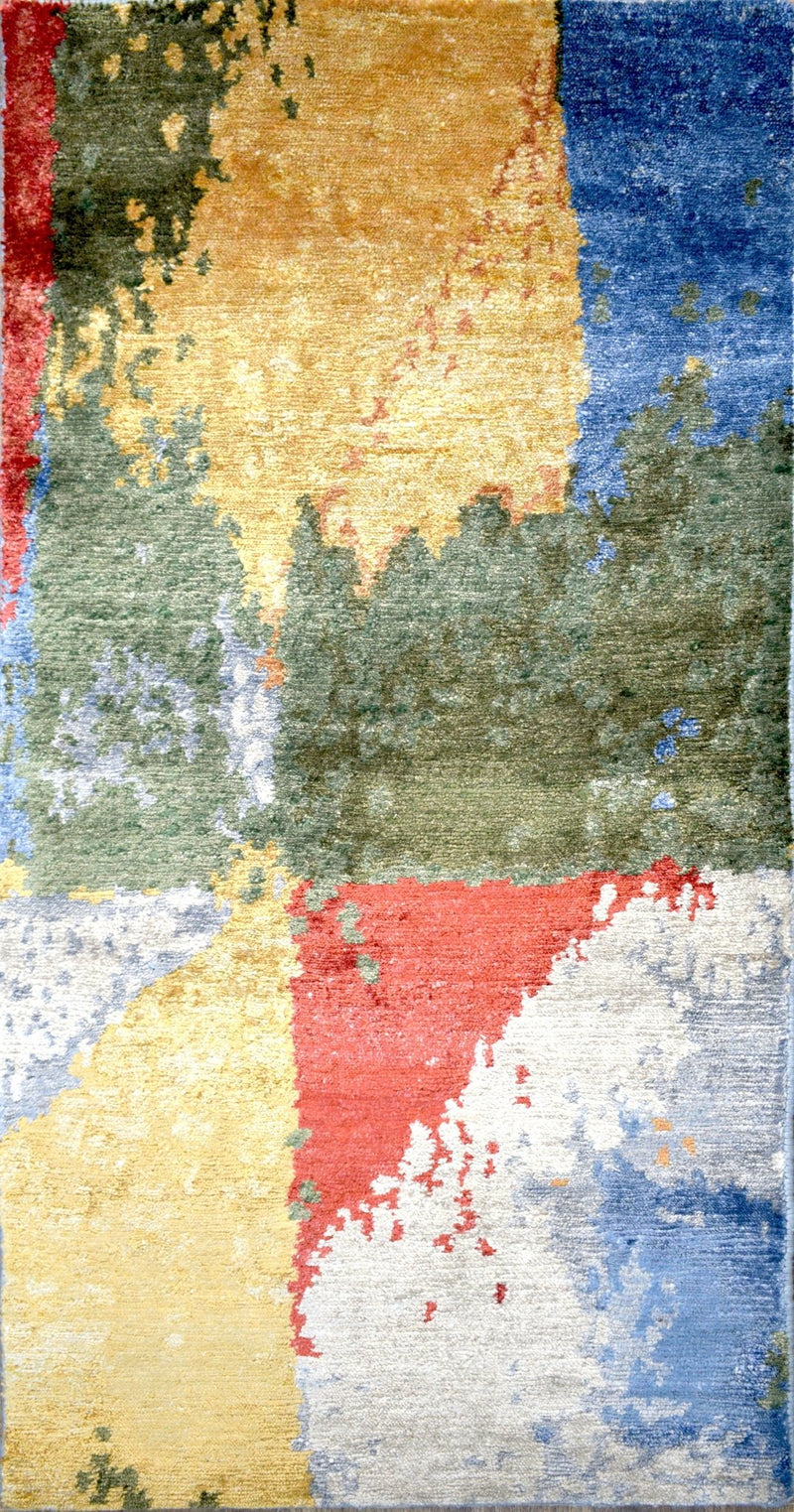 Modern Indo Tibetan Wool and Bamboo Silk 2' by 4' Rug |The Rug Decor |TRD152224 - The Rug Decor