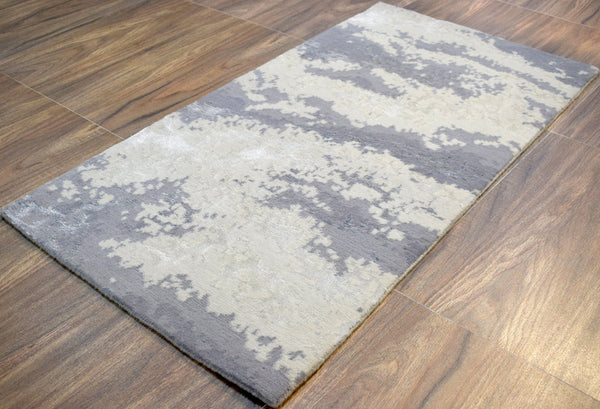 Modern Indo Tibetan Wool and Bamboo Silk 2' by 4' Rug |The Rug Decor |TRD170324 - The Rug Decor
