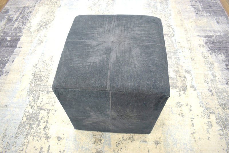 Modern Styling Handmade Leather Pouf - Comfortable Chair or Footrest - Black | TRD157 - The Rug Decor