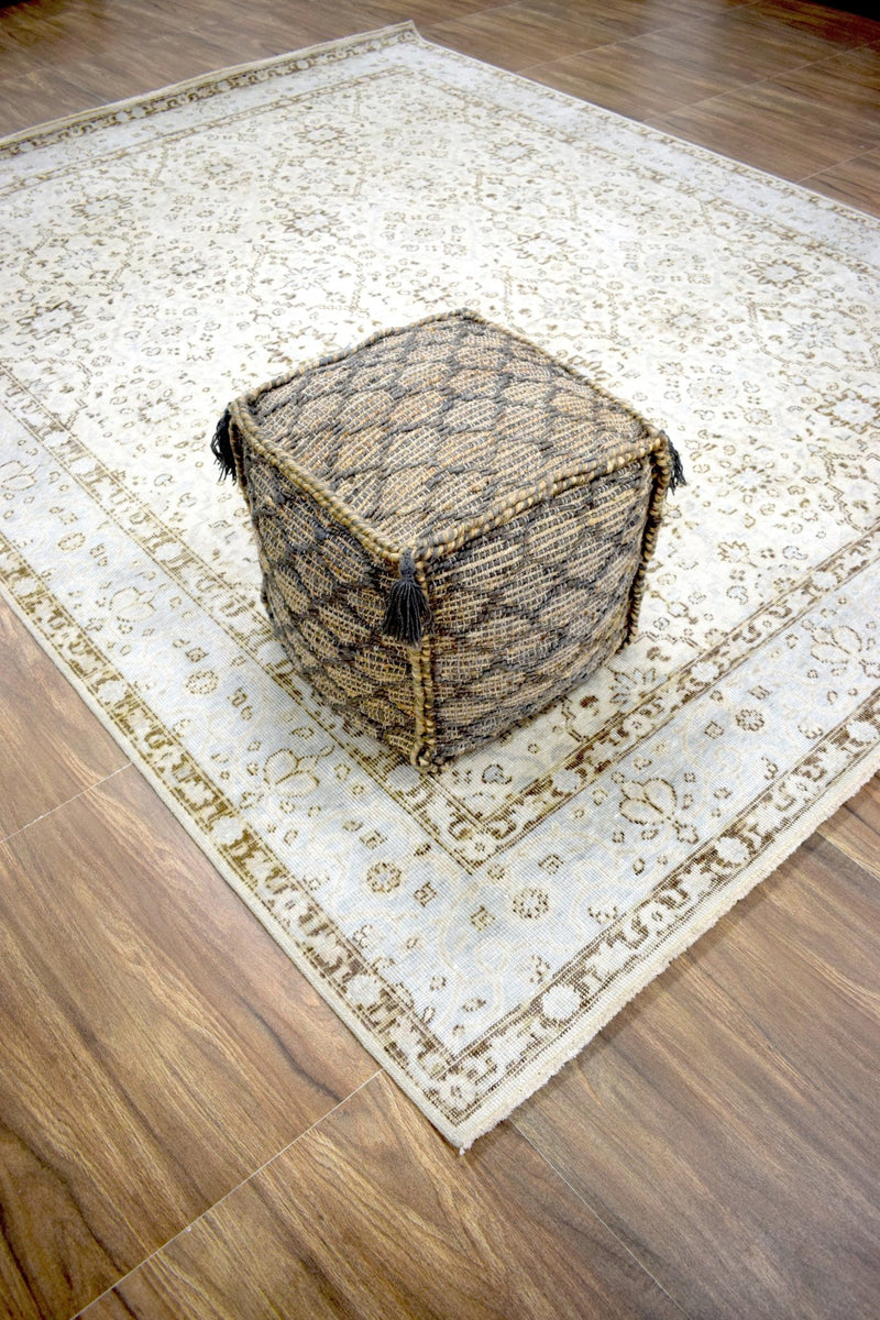 Modern Styling Handmade Pouf - Comfortable Chair or Footrest - Brown | TRD208 - The Rug Decor