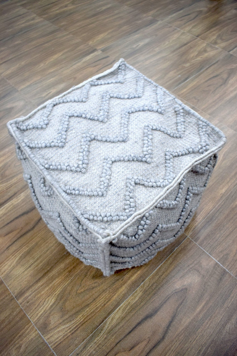 Modern Styling Handmade Pouf - Comfortable Chair or Footrest - Grey| TRD206 - The Rug Decor