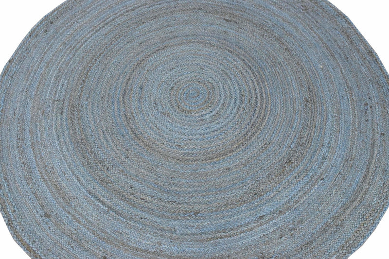 New 100% Natural Fiber 5 Feet Round Jute Rug, hand braided blue reversible rug | JR001 - The Rug Decor