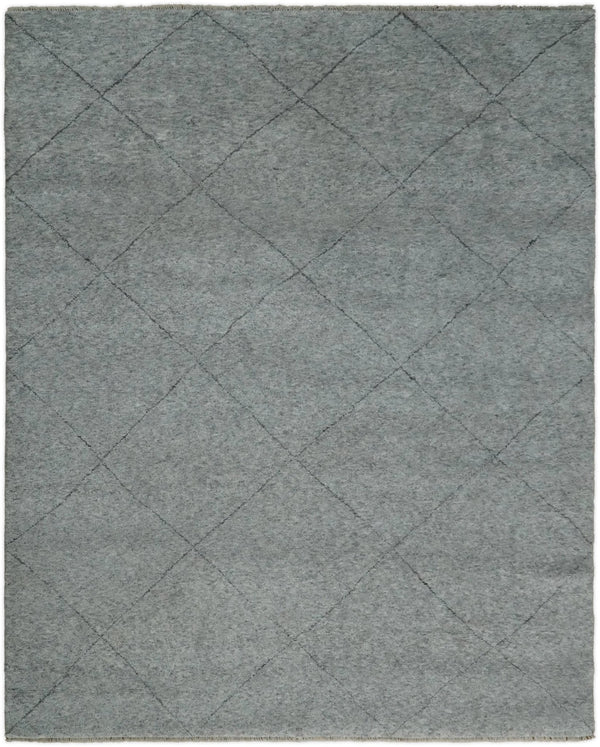 Silver and Gray Hand Woven 8x10 Trellis Moroccan Rug Made with Fine Wool | TRDCP78810 - The Rug Decor