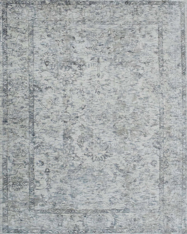 Silver and Gray Handmade Area Rug Made With Fine Viscose - The Rug Decor