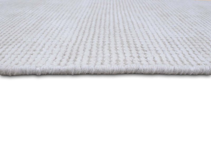 Solid Ivory Hand Made Textured Wool Area Rug | Low Pile | No Shedding | TRD163 - The Rug Decor