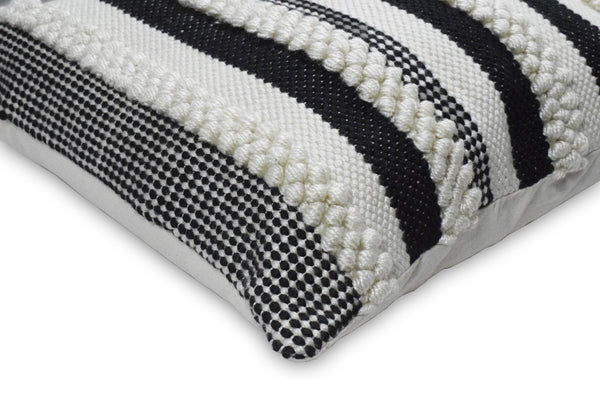 Square Outdoor and Indoor Safe Black and White Striped Pillow - The Rug Decor