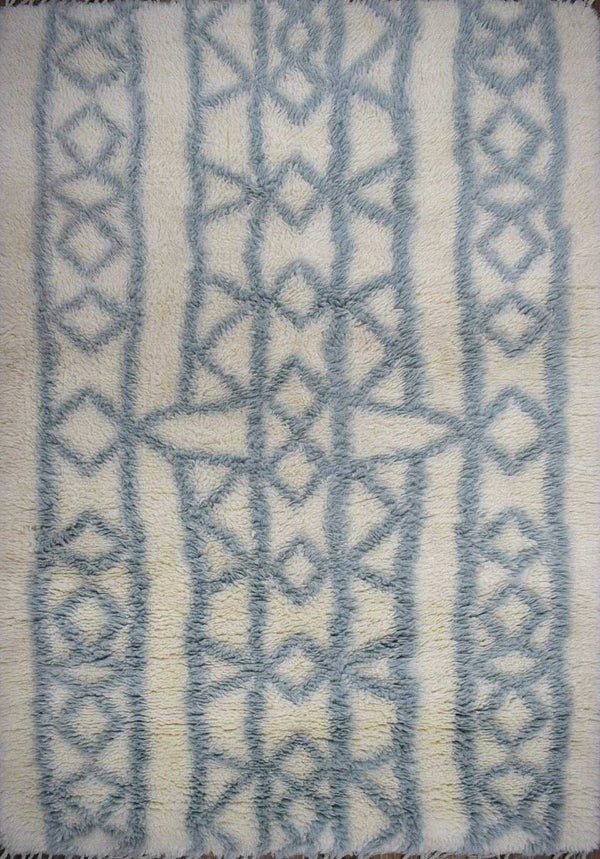 Traditional Hand Made New Zealand Wool Light Blue Moroccan 4' x 6' Rug | The Rug Decor | TRD171446 - The Rug Decor