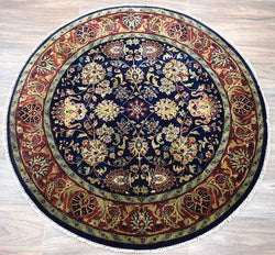 Traditional Handmade Semi Worsted Wool 4' X 4' Round Rug |The Rug Decor | TRD12944 - The Rug Decor
