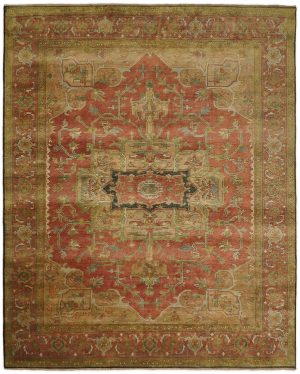 Traditional Heriz Serapi Handmade Fine Wool Area Rug | TRD753810 - The Rug Decor