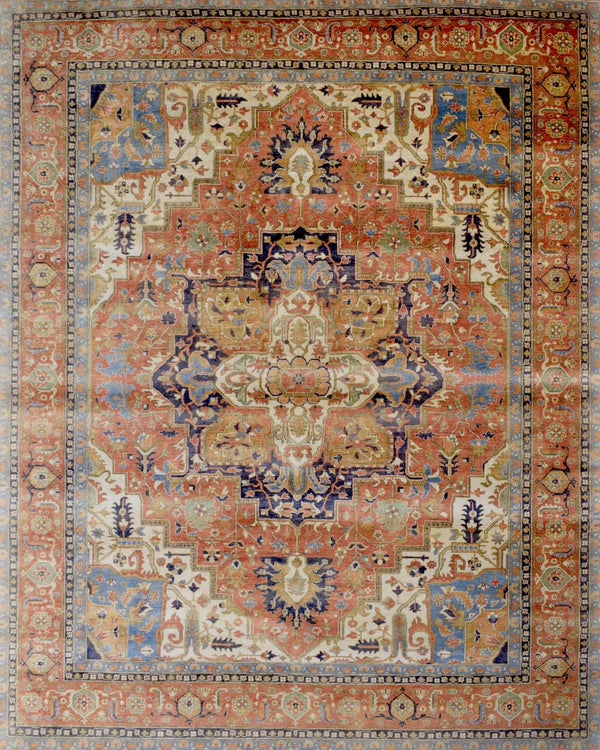 Traditional Luxury Hand Knotted Beige and Rust Wool 8x10 Area Rug | TRD1765810 - The Rug Decor
