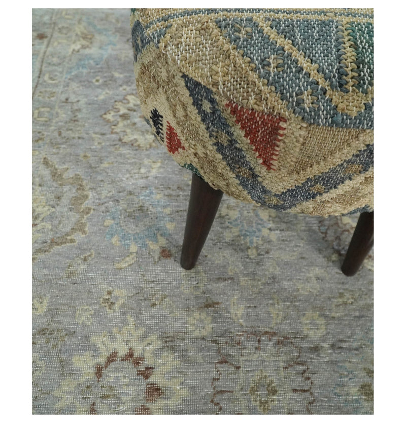 Vintage Hand Knotted 8x10 Silver and Beige Traditional Oxidized Textured Low Pile Wool Rug | TRD2207810 - The Rug Decor