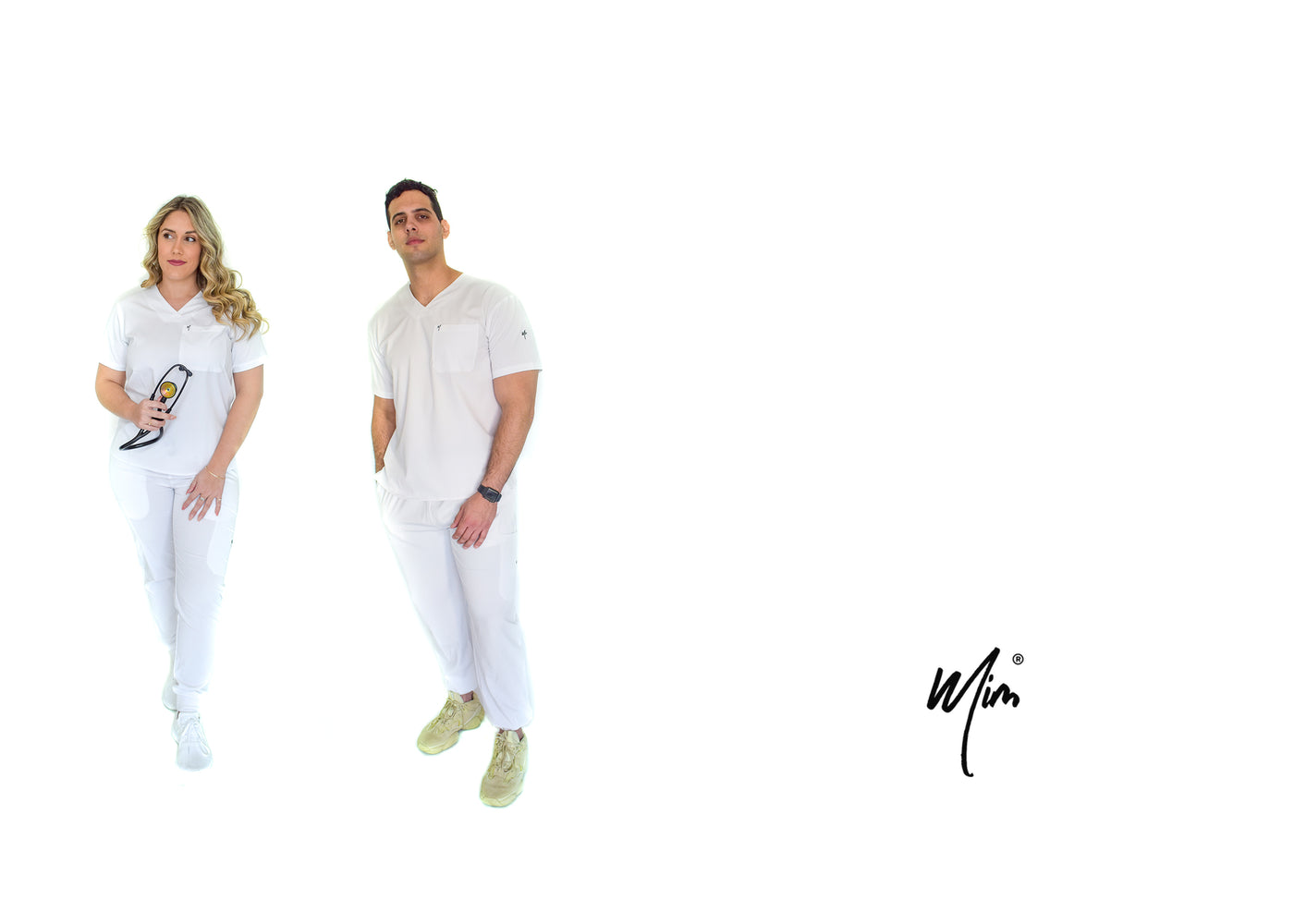 white jogger scrubs