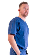 men's Navy Blue Scrub Top - Jogger Scrubs by Millennials In Medicine (Mim Scrubs)