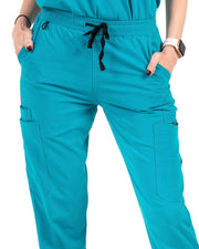 women's Caribbean Blue Jogger Scrub Pants - Jogger Scrubs by Millennials In Medicine (Mim Scrubs)