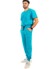men's Caribbean Blue Scrub Top - Jogger Scrubs by Millennials In Medicine (Mim Scrubs)