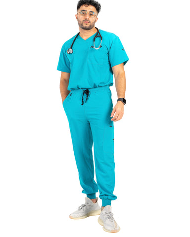 men's Caribbean Blue Scrub Pants - Jogger Scrubs by Millennials In Medicine (Mim Scrubs)