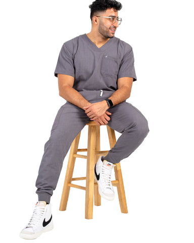 men's Bambi Gray Scrub Top by Millennials in Medicine (MimScrubs)