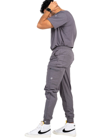 men's Bambi Gray Jogger Scrub Pants