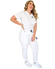 women's White Scrub Top - Jogger Scrubs by Millennials In Medicine (Mim Scrubs)