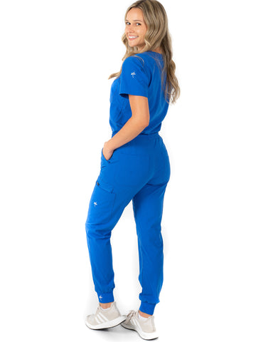 women's Royal Blue Scrub Top - Jogger Scrubs by Millennials In Medicine (Mim Scrubs)