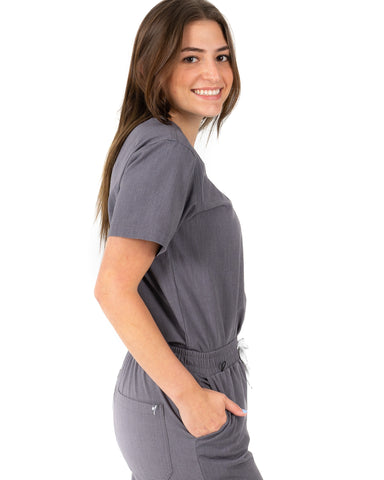 women's Bambi Gray Scrub Top - Jogger Scrubs by Millennials In Medicine (Mim Scrubs)