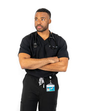 men's Black Scrub Top - Jogger Scrubs by Millennials In Medicine (Mim Scrubs)