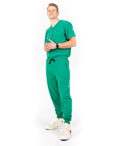 men's Hunter Green Jogger Scrub Pants
