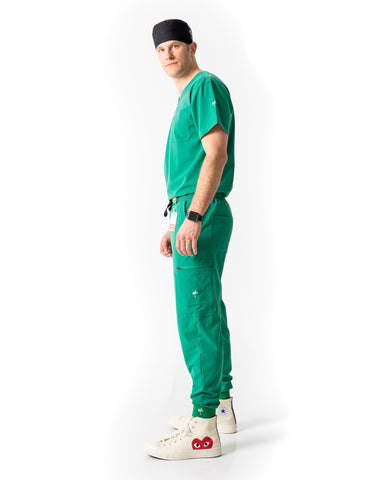 men's Hunter Green Scrub Top - Jogger Scrubs by Millennials In Medicine (Mim Scrubs)