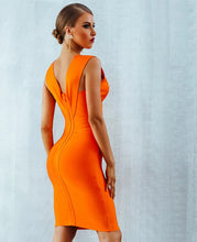Orange V-Neck Bodycon Dress