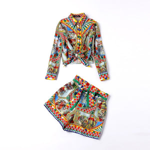 Print Blouses + Shorts  Set Suit