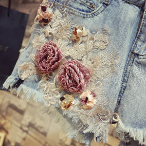 Flower Diamond  T-shirt +Jeans  Shorts