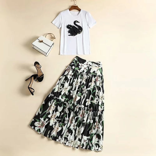Embroidery Crystal White  T shirt + Flower Print Skirt