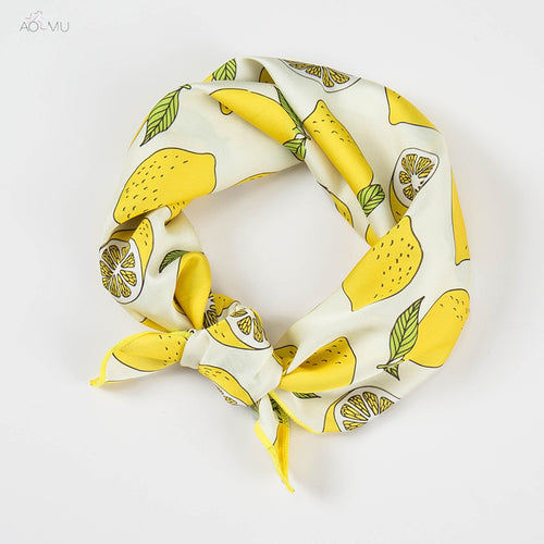 Lemon Pattern Satin Silk Scarf
