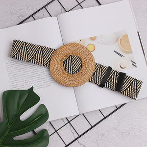 High Waist Striped Widely Belt