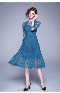 Three Quarter Sleeve Blue Dress
