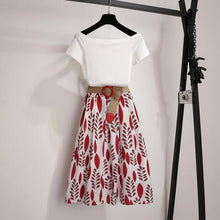 Set Off Shoulder Basic Tees+ Print Skirt