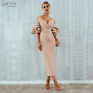 Ruffle Butterfly  Sleeve Midi  Dress
