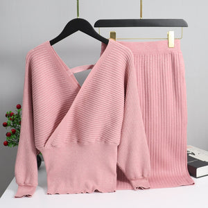 Set Knitted Pullover Sweater Lurex Shinning  and Skirt