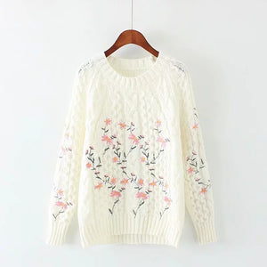 Flower Embroidery  Pullover