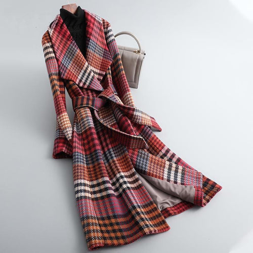 Wool Coat Fashion Plaid