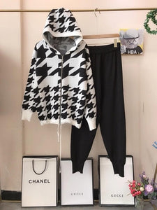 Knit Plaids Hooded Sweater Cardigan + Pants