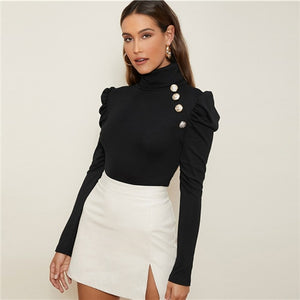 Gold Buttoned Gigot Sleeve Top
