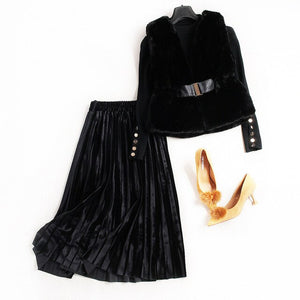 Three Piece Faux Fur Vest - Knitte Pullovers Pleated Velvet Skirt