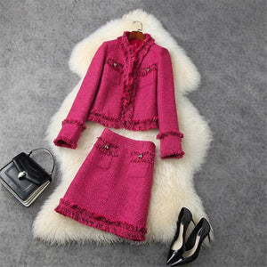 Tassel Tweed Woolen Jacket and Skirt