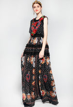 Rose Flower Print Long Dress