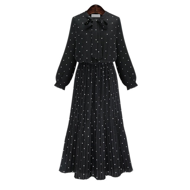 Black Chiffon Dot Loose  Dress