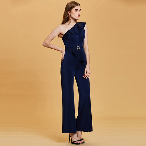 One Shoulder Sheath Jumpsuit