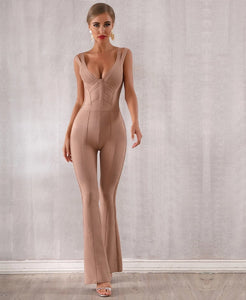 V Neck Sleeveless Long Jumpsuit